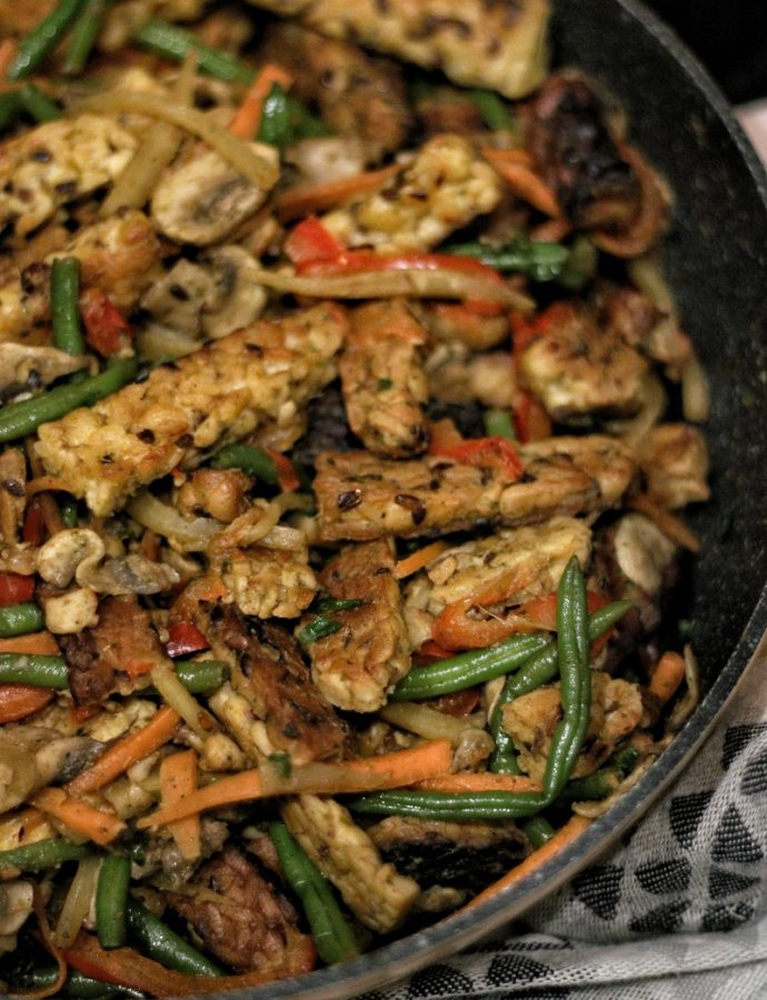 Dry Green Curry Tempe Stir Fry